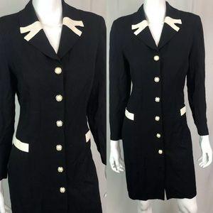 Vintage Button Up Sailor Shirt Dress 80s 90s 3P